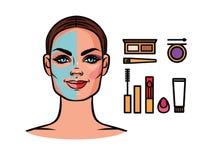 Make-up vorher und nachher lizenzfreie abbildung
