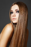 Make-up, wellness. Beautiful model with long hair