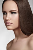 Make-up, wellness. Beautiful model with long hair Royalty Free Stock Photo
