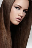 Make-up, wellness. Beautiful model with long hair Royalty Free Stock Photos