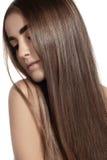 Make-up, wellness, spa. Beautiful model with long straight shiny hair Stock Image