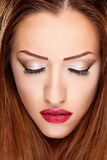 Make up on woman. Make up on brunette woman Royalty Free Stock Photo
