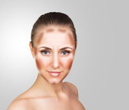 Make up woman face. Contour and Highlight makeup. Professional Contouring face make-up sample stock images