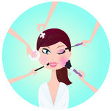 Make - up woman - facial treatment services Royalty Free Stock Image
