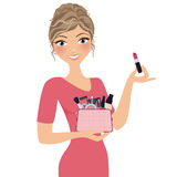 Make Up Woman. Pretty woman with full make-up bag vector illustration