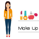 Make-up and womens cosmetics Royalty Free Stock Images