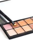 Make-upbürste und Erdtonlidschatten lizenzfreie stockbilder
