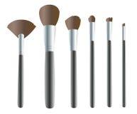 Make-upbürsten, Make-up bearbeitet Hintergrundvektor Lizenzfreies Stockbild