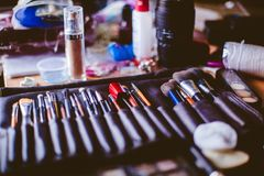 Make-upbürsten, Nahaufnahme lizenzfreies stockbild