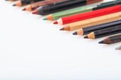 Make-upbleistifte eingestellt lokalisiert auf weißem Hintergrund Lizenzfreies Stockfoto