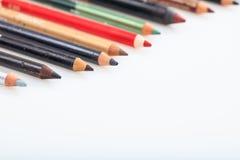 Make-upbleistifte eingestellt lokalisiert auf weißem Hintergrund Stockfotografie