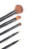 Make-upborstel en de oogschaduw van de aardetoon Royalty-vrije Stock Afbeeldingen