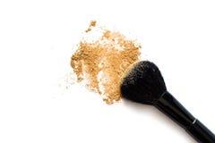 Make-upborstel en Poeder royalty-vrije stock foto