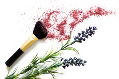 Make-upborstel en rouge royalty-vrije stock foto