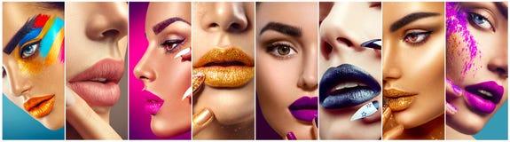 Make-upcollage Bunte Lippen, Augen, Lidschatten und Nagelkunst stockbilder