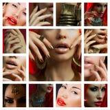 Make-upcollage Mooie jonge vrouwen met modieuze heldere samenstelling royalty-vrije stock foto's