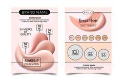 Make-updesign-Fliegerschablone für kosmetischen Künstler, Make-upstudio oder Kosmetik kaufen Standorttitel, Visitenkarte, Broschü lizenzfreie abbildung