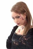 Make-upfrauen-Halskettenohrring Stockfoto