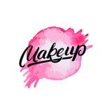 Make-uphand geschreven van letters voorziend embleem, etiket, embleem met waterverfplons Stock Afbeeldingen