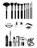 Make-upkunstenaar Brushs en hulpmiddelen Lippen, spijkers en oog Vectordieillustratieelementen op wit worden geplaatst Royalty-vrije Stock Foto