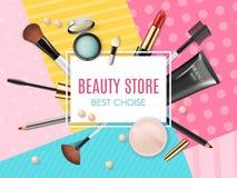 Make-upschablonen-Schönheitsspeicher mit Sammlung dekorativen Kosmetik und Make-up der realistischen Schönheit bearbeitet Schönhe stockbilder