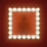 Make-upspiegel met elektrische bollen Vector illustratie Royalty-vrije Stock Foto's
