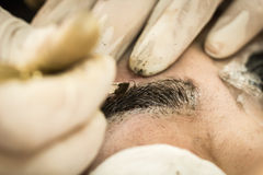 Make-upwenkbrauw die, vrij Aziatisch vrouwengezicht tatoeëren Stock Fotografie