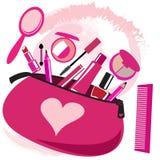 Make-upzak met schoonheidsspecialisthulpmiddelen Royalty-vrije Stock Fotografie