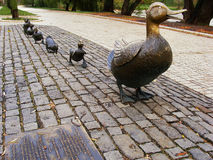 Make way for ducklings sculpture, Novodevichy Park, Moscow, Russ royalty free stock image