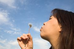 Make a wish. Japanese girl making a wish while blowing a dandelion Royalty Free Stock Photos