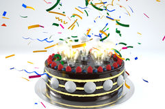 Make a wish!. 3D illustration of cake with lamp bulbs Stock Images