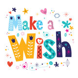 Make a wish decorative type lettering text design Royalty Free Stock Image