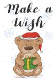 Make a wish. Festive card with a teddy bear stock illustration