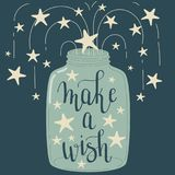 `Make a wish` hand lettering. In a mason jar with stars. Mason jar full of stars. Hand drawn vector art royalty free illustration