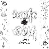 Make a wish. Happy birthday card with hand drawn lettering Royalty Free Stock Photo