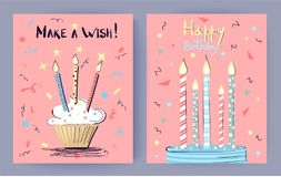 Make a Wish Happy Birthday Vector Illustration. Make a wish Happy Birthday congratulation on pink background. Vector illustration with cakes decorated with Royalty Free Stock Image