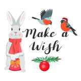 Make a wish. Illustration with a bunny and bullfinches vector illustration