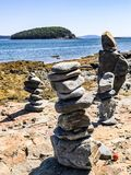 Bar harbor at Acadia National Park Maine. Make a wish or make your own style rocks. This is wonderful thing in the world. Beautiful day walk on a harbor walk royalty free stock photography