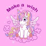Make a wish. A small, cartoon unicorn on a pink background royalty free illustration