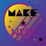 Make a wish. Star falls in sky, lettering of phrase is hand-drawn in futuristic neon color palette. vector illustration