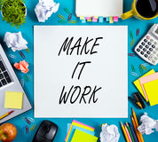 Make it work. Advice. Office table with notepad, computer and coffee cup. Business creative consept. Stock Photos
