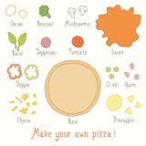 Make you own pizza set. Vector EPS 10 hand drawn illustartion stock illustration