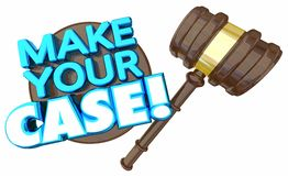 Make Your Case Court Trial Argument Debate. Verdict 3d Illustration Stock Photos