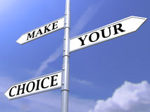 Make your choice concept on blue sky. Make your choice 3d concept on blue sky Stock Photos