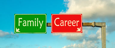 Make your choice; Family or career Stock Photography