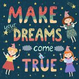 Make your dreams come true poster, print with cute fairies Stock Photography