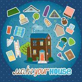 Make Your House - night version. Make Your House - hand-drawn vector illustration of a family home at night with illuminated windows and a set of additional Stock Images