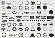 Make your labels or Logotypes concept set. Retro typography, badges, logos, borders, ribbons, emblem, stamp, and objects. Vector