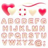 Make your logo abc alphabet set with emblems. Valentine abc alphabet set with love emblems isolated on white royalty free illustration