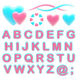 Make your logo abc alphabet set with emblems. Valentine abc alphabet set with love emblems isolated on white Vector Illustration